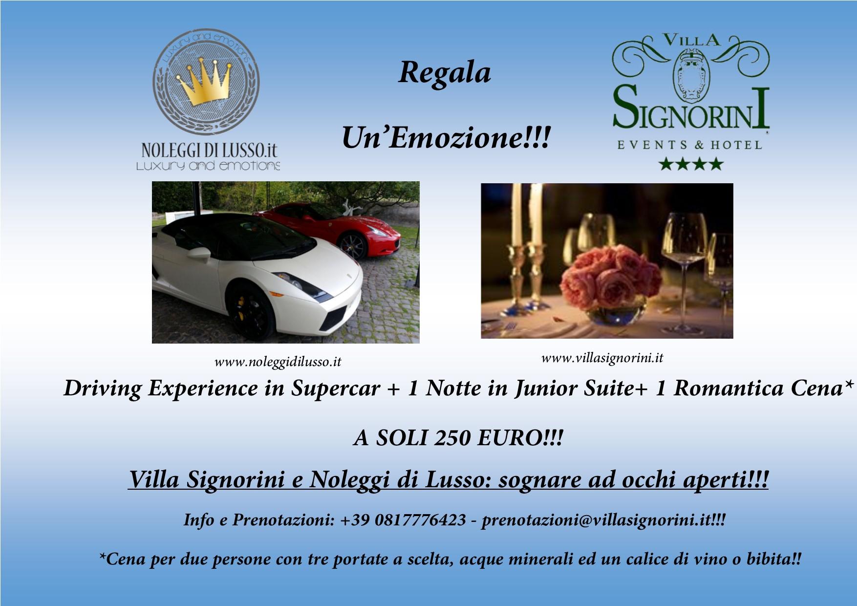 Driving Experience+notte in albergo+pranzo o cena con prezzo